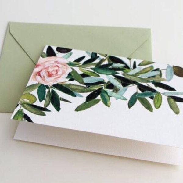 Olive Leaf and Rose Folded Notes